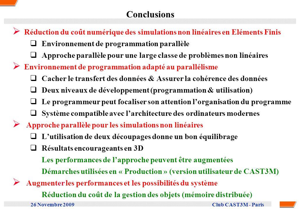 Conclusions Réduction du coût numérique des simulations non linéaires en Eléments Finis. Environnement de programmation parallèle.
