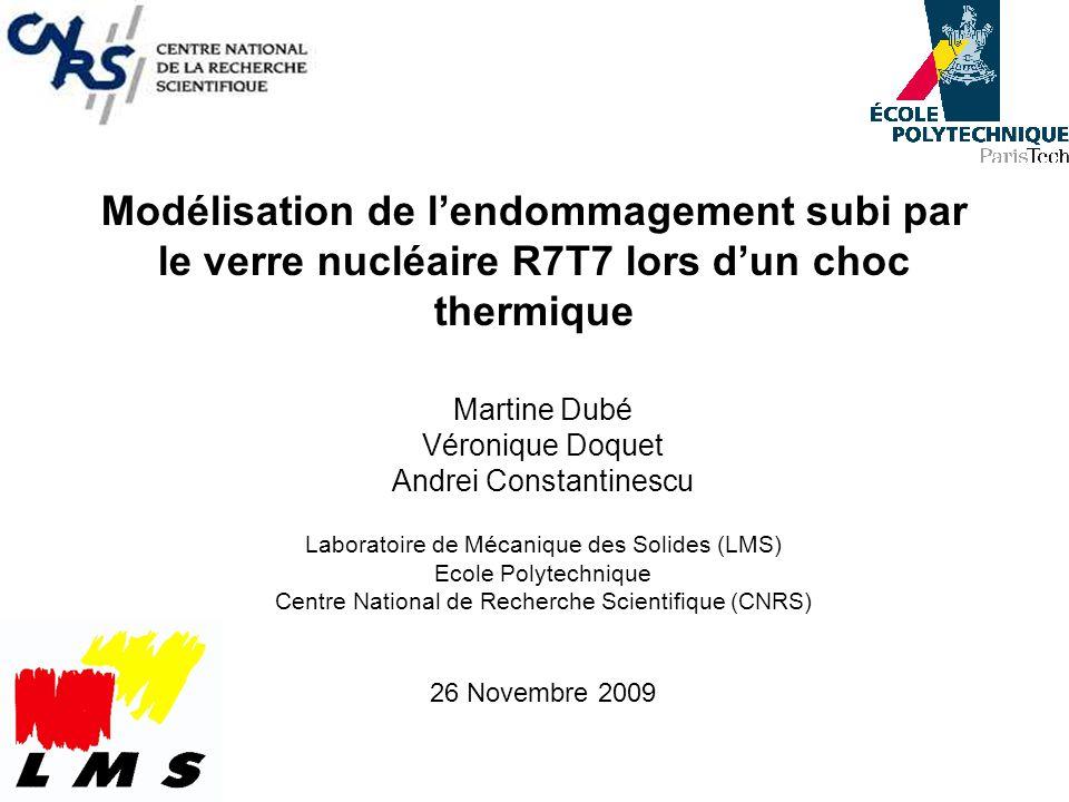 Modélisation de l'endommagement subi par le verre nucléaire R7T7 lors d'un choc thermique
