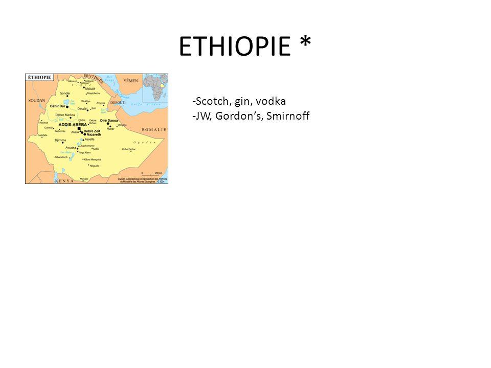 ETHIOPIE * -Scotch, gin, vodka -JW, Gordon's, Smirnoff