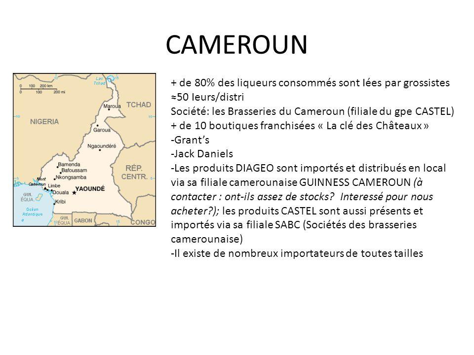 CAMEROUN + de 80% des liqueurs consommés sont Iées par grossistes