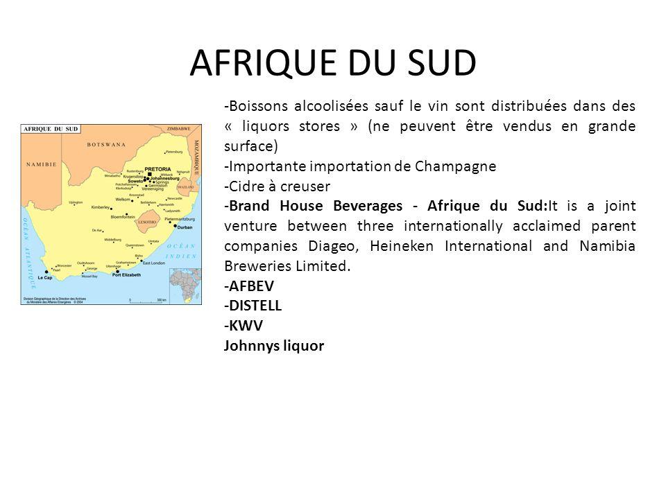 AFRIQUE DU SUD -Boissons alcoolisées sauf le vin sont distribuées dans des « liquors stores » (ne peuvent être vendus en grande surface)