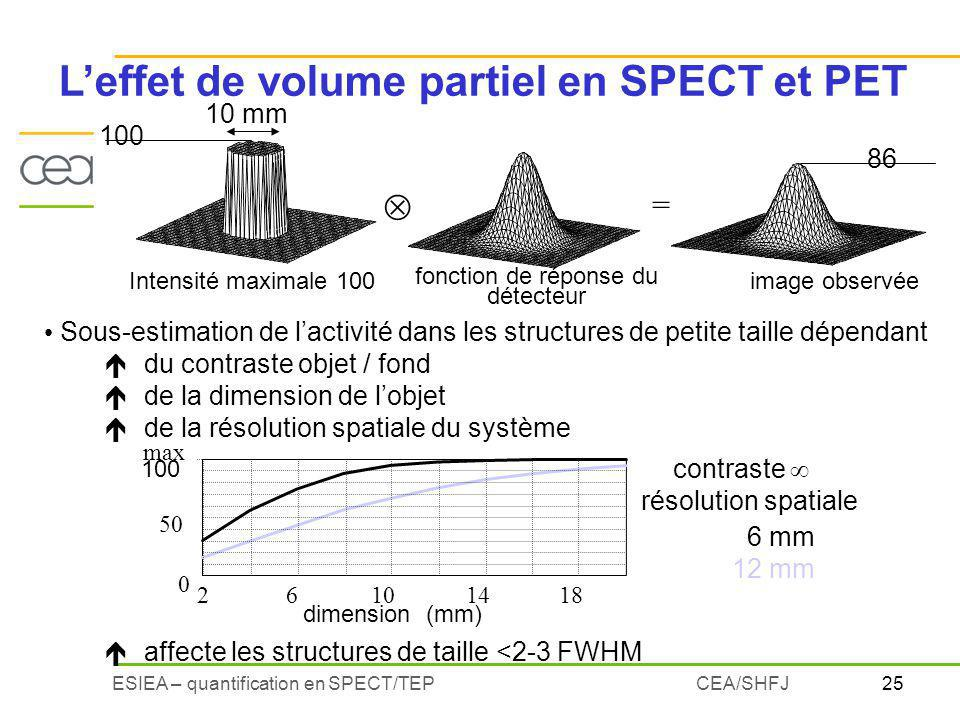 L'effet de volume partiel en SPECT et PET