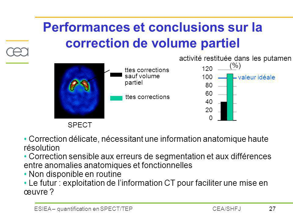 Performances et conclusions sur la correction de volume partiel