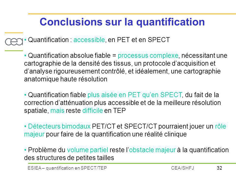 Conclusions sur la quantification