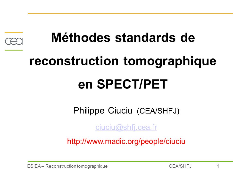 Méthodes standards de reconstruction tomographique