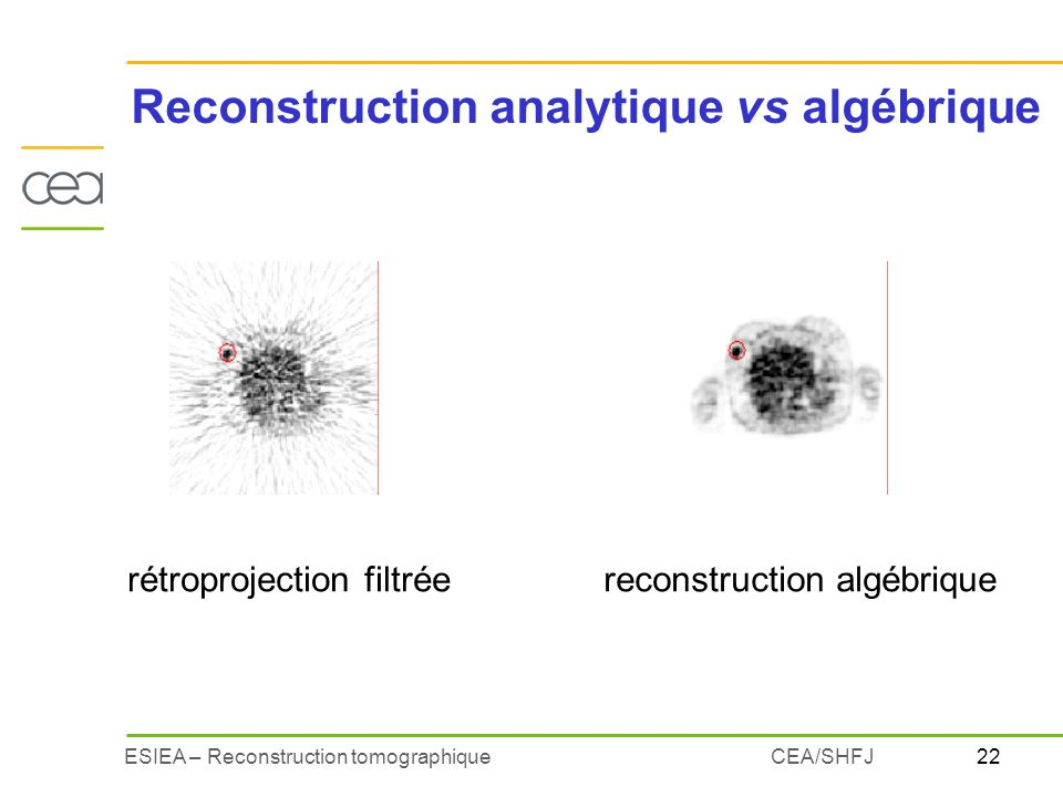 Reconstruction analytique vs algébrique