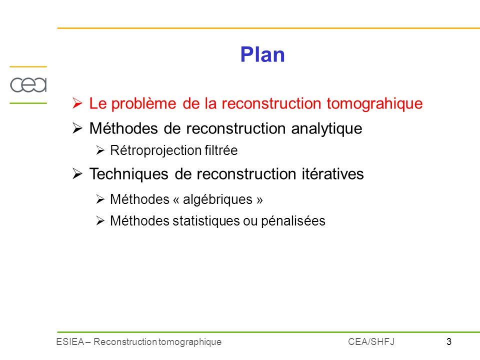 Plan Le problème de la reconstruction tomograhique