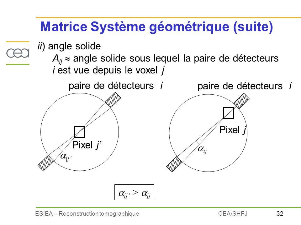 Matrice Système géométrique (suite)
