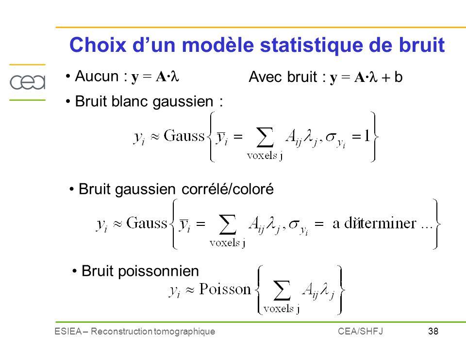 Choix d'un modèle statistique de bruit