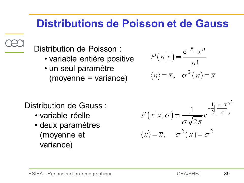Distributions de Poisson et de Gauss