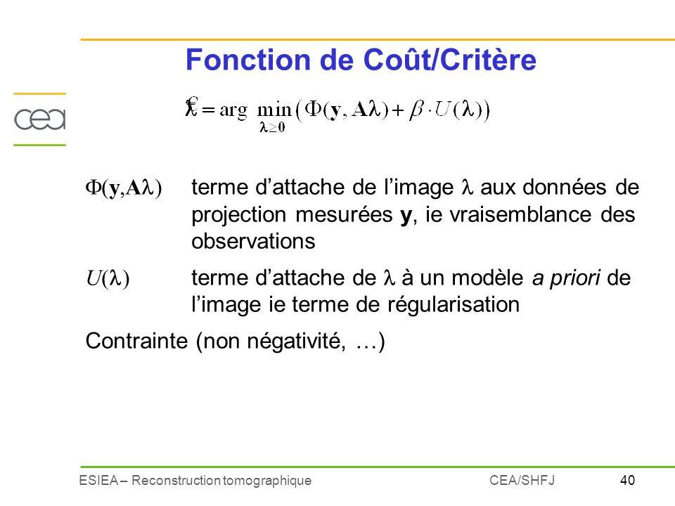 Fonction de Coût/Critère