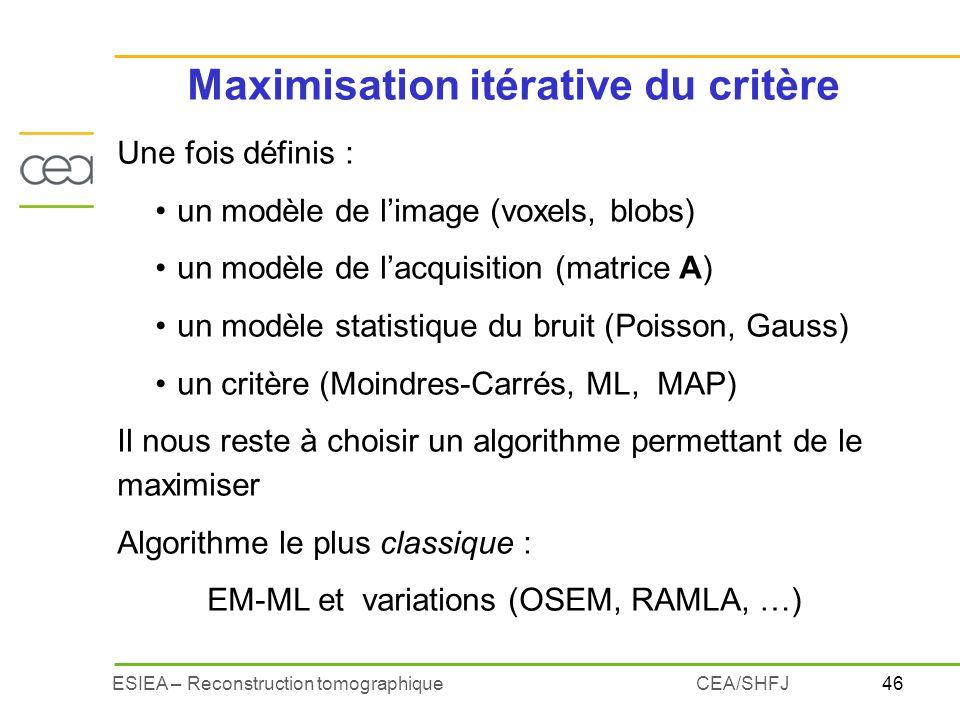 Maximisation itérative du critère