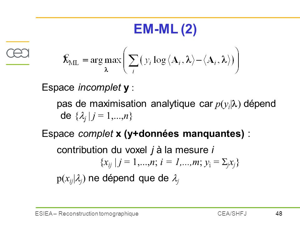 EM-ML (2) Espace incomplet y :