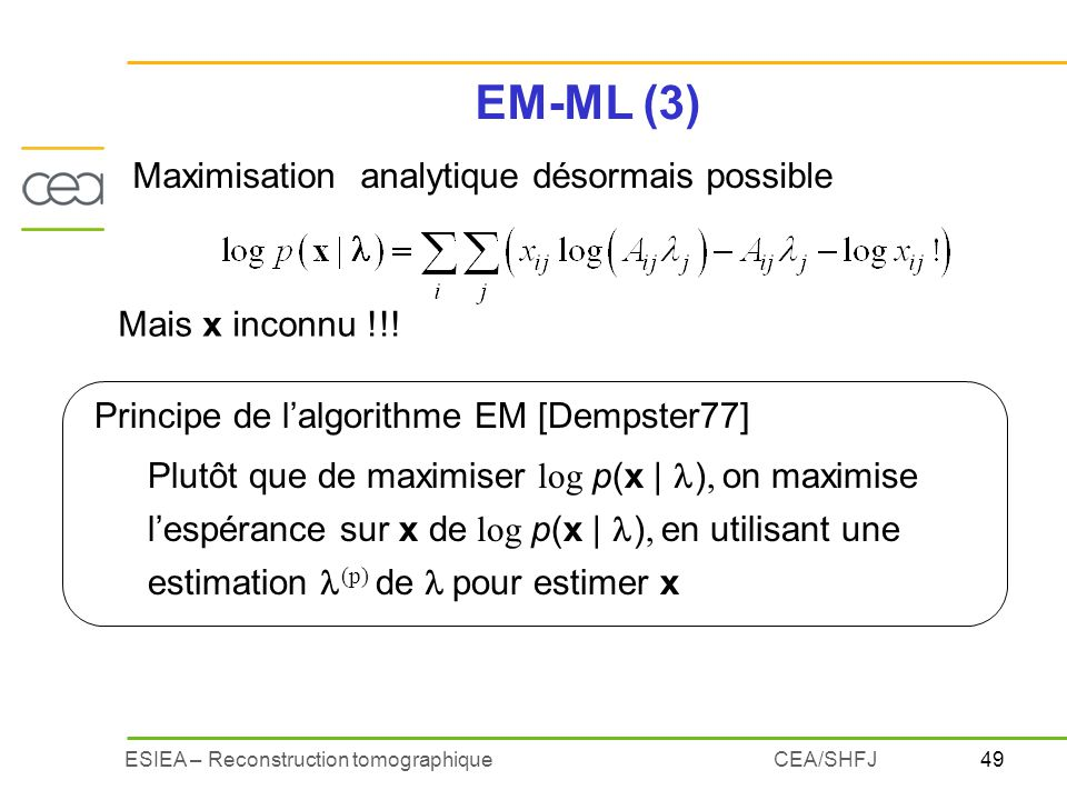 EM-ML (3) Maximisation analytique désormais possible