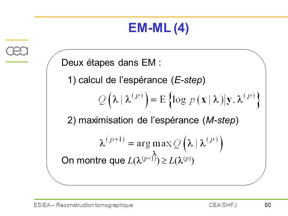 EM-ML (4) Deux étapes dans EM : 1) calcul de l'espérance (E-step)