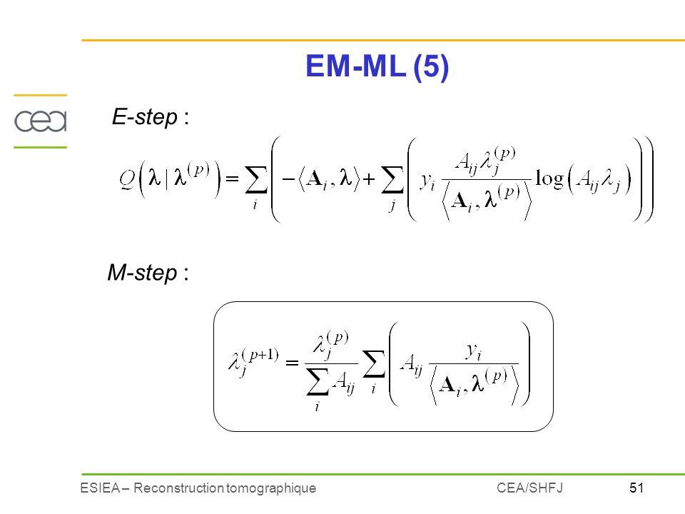 EM-ML (5) E-step : M-step : CEA/SHFJ