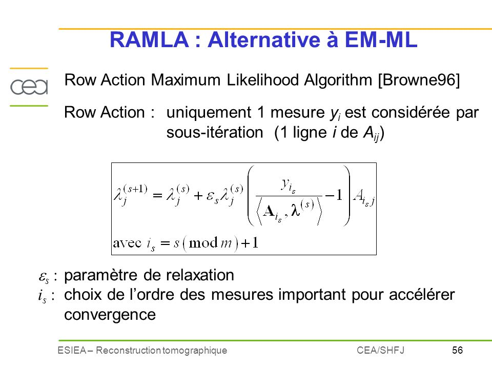 RAMLA : Alternative à EM-ML