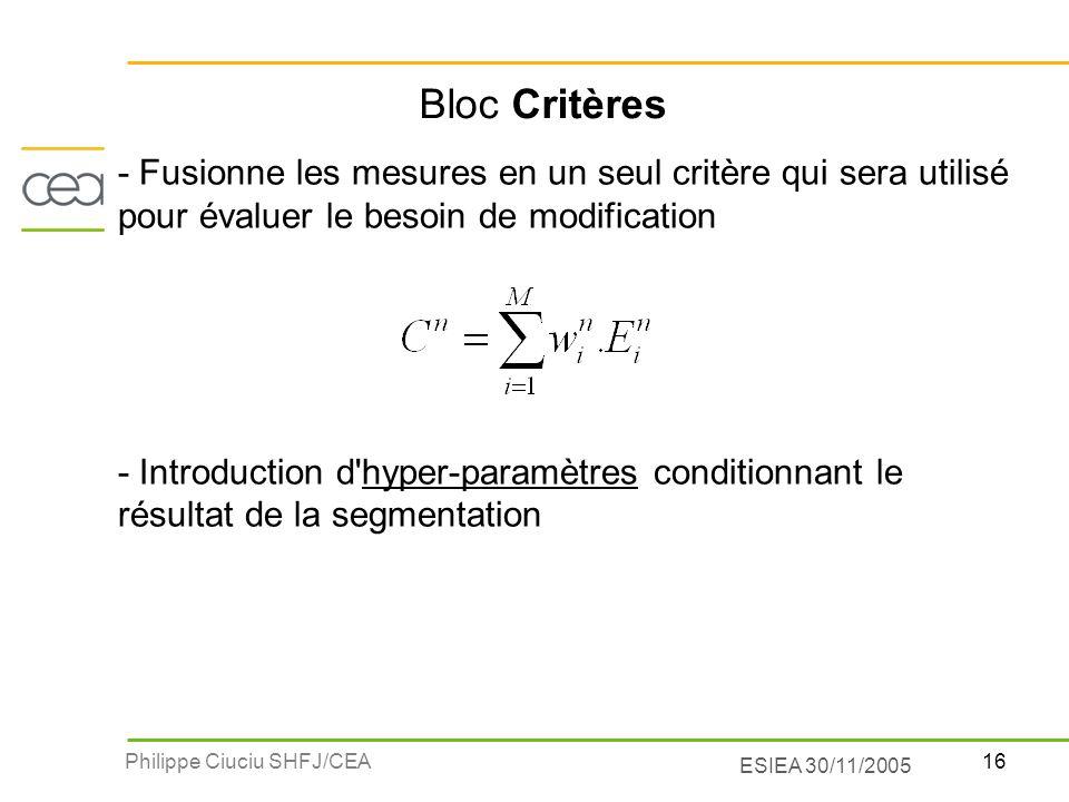 Bloc Critères - Fusionne les mesures en un seul critère qui sera utilisé pour évaluer le besoin de modification.