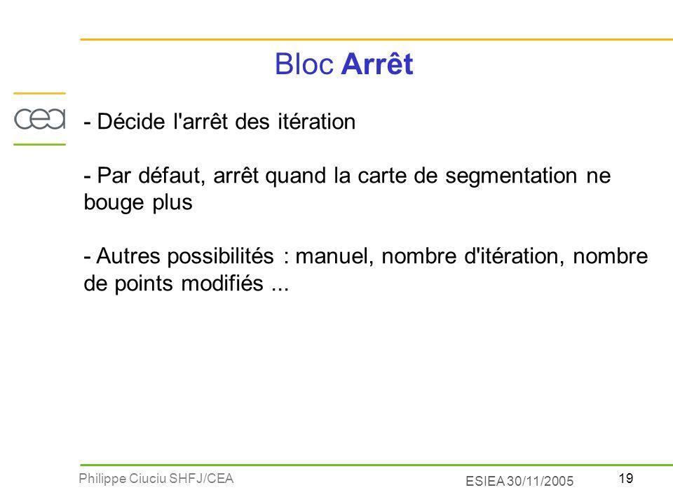 Bloc Arrêt - Décide l arrêt des itération