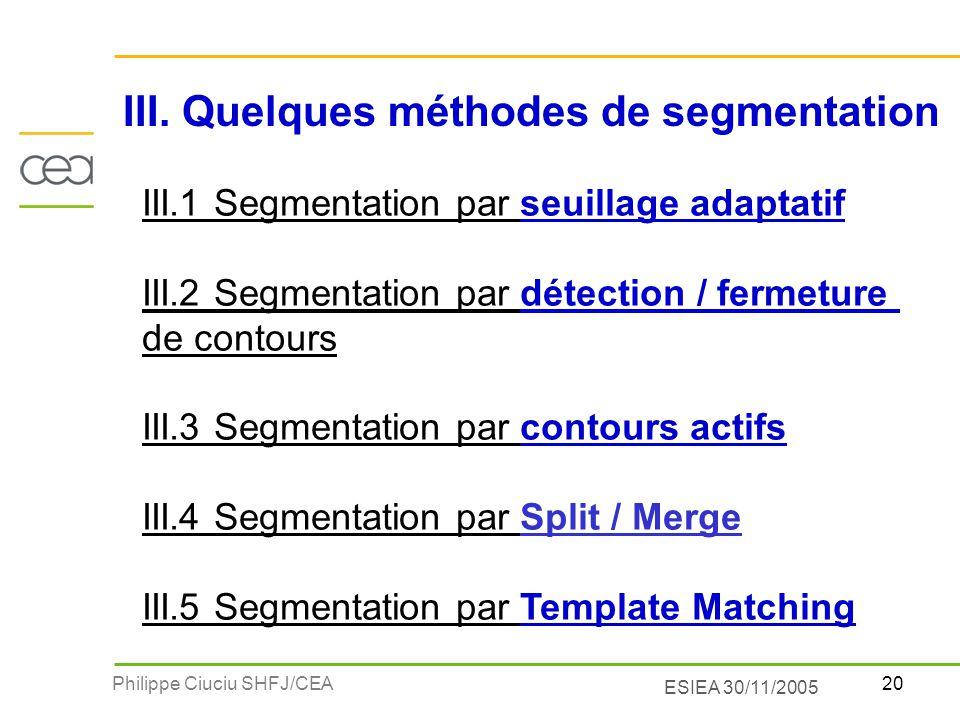 III. Quelques méthodes de segmentation