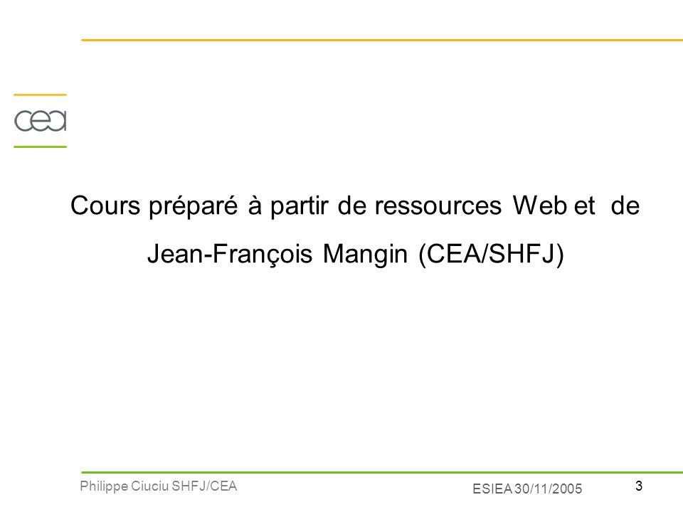 Cours préparé à partir de ressources Web et de Jean-François Mangin (CEA/SHFJ)