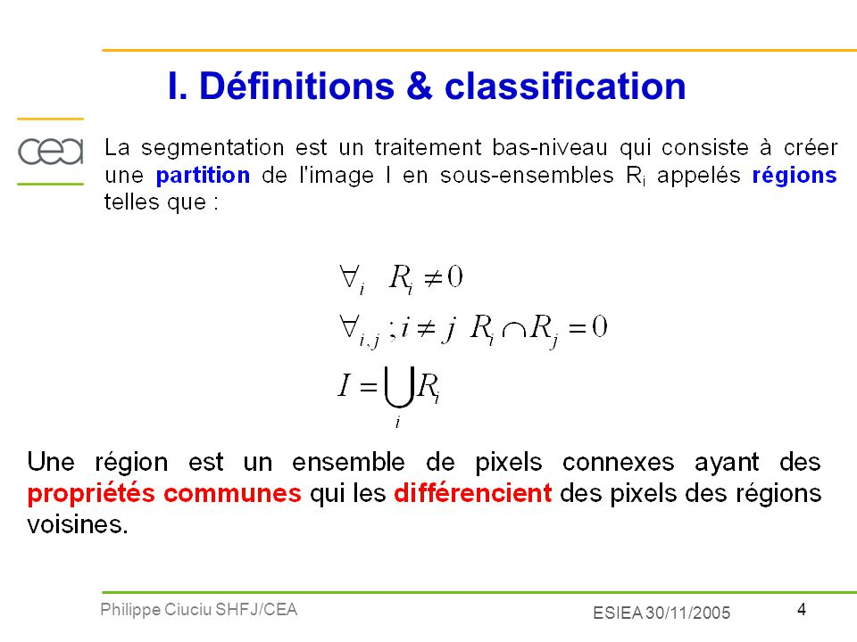 I. Définitions & classification