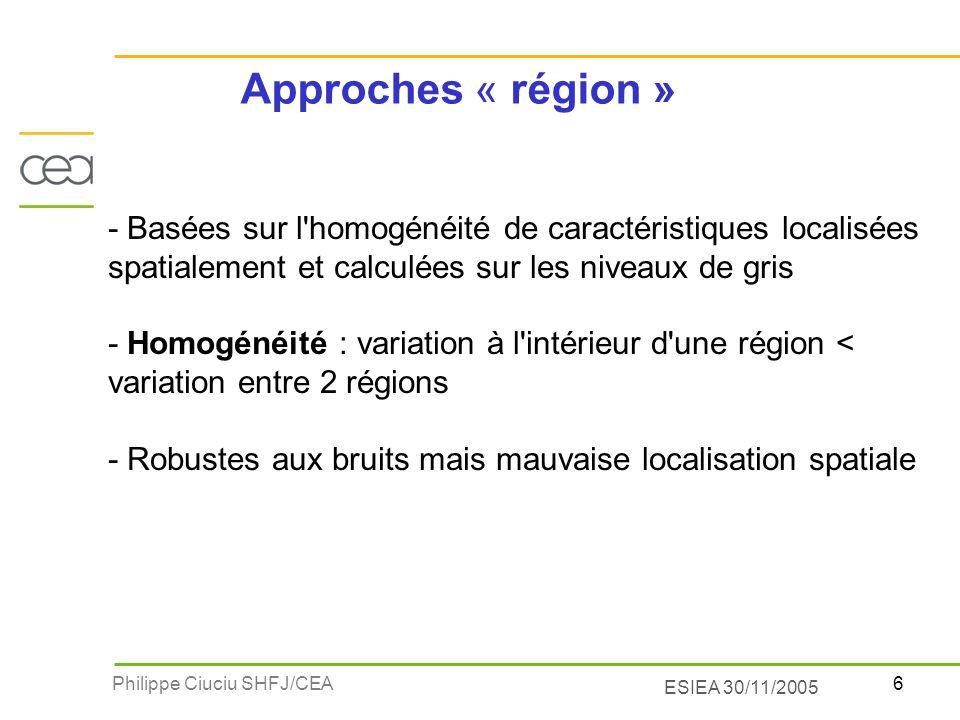 Approches « région » - Basées sur l homogénéité de caractéristiques localisées spatialement et calculées sur les niveaux de gris.