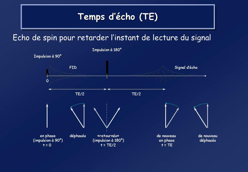 Temps d'écho (TE) Echo de spin pour retarder l'instant de lecture du signal. TE/2. Impulsion à 180°