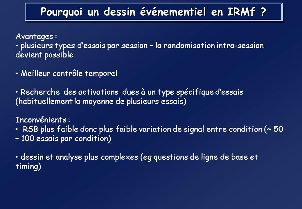 Pourquoi un dessin événementiel en IRMf
