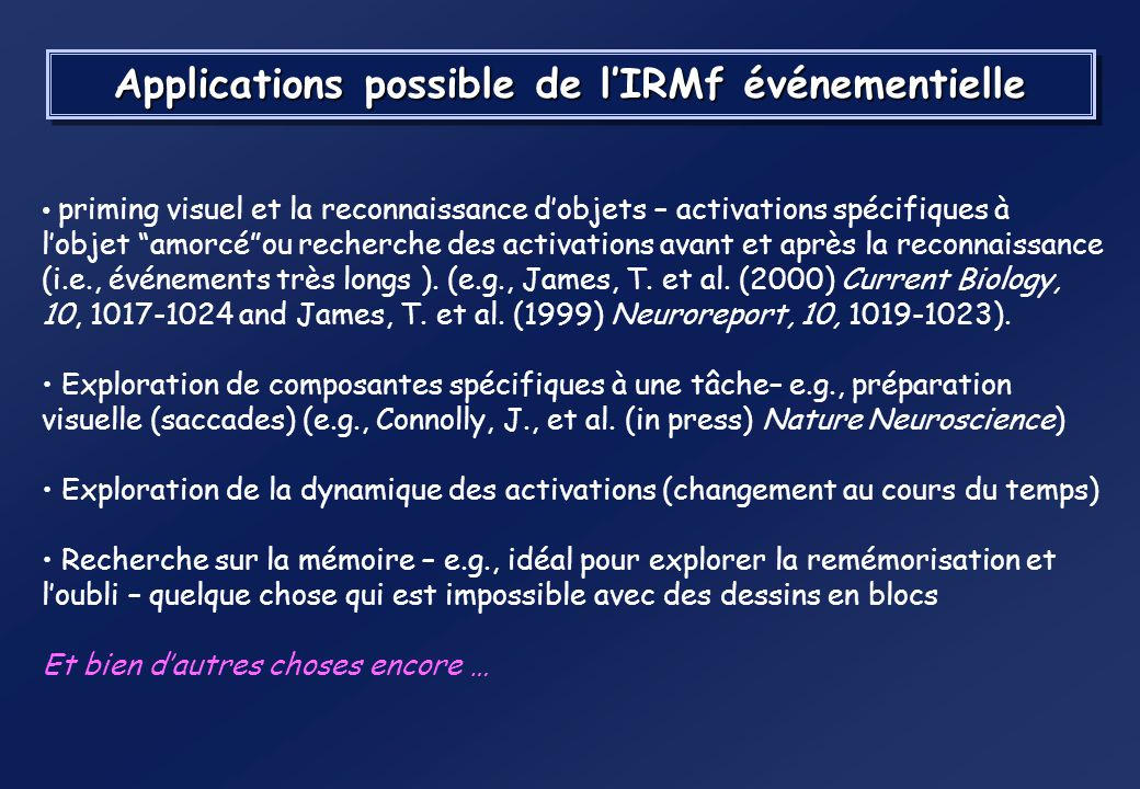 Applications possible de l'IRMf événementielle
