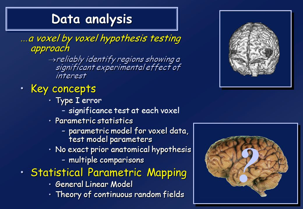 Data analysis Key concepts Statistical Parametric Mapping