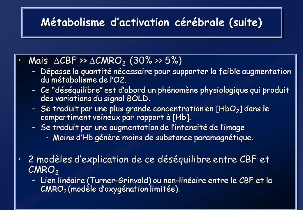 Métabolisme d'activation cérébrale (suite)