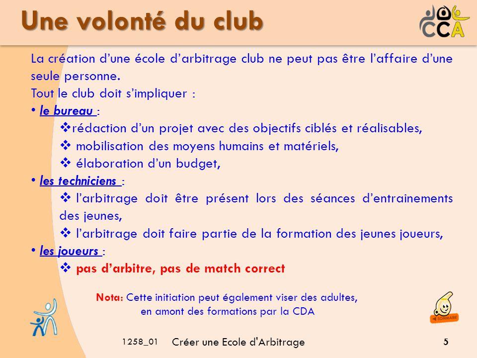 Une volonté du club La création d'une école d'arbitrage club ne peut pas être l'affaire d'une seule personne.