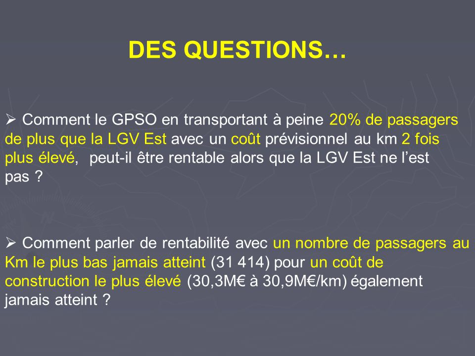 DES QUESTIONS…