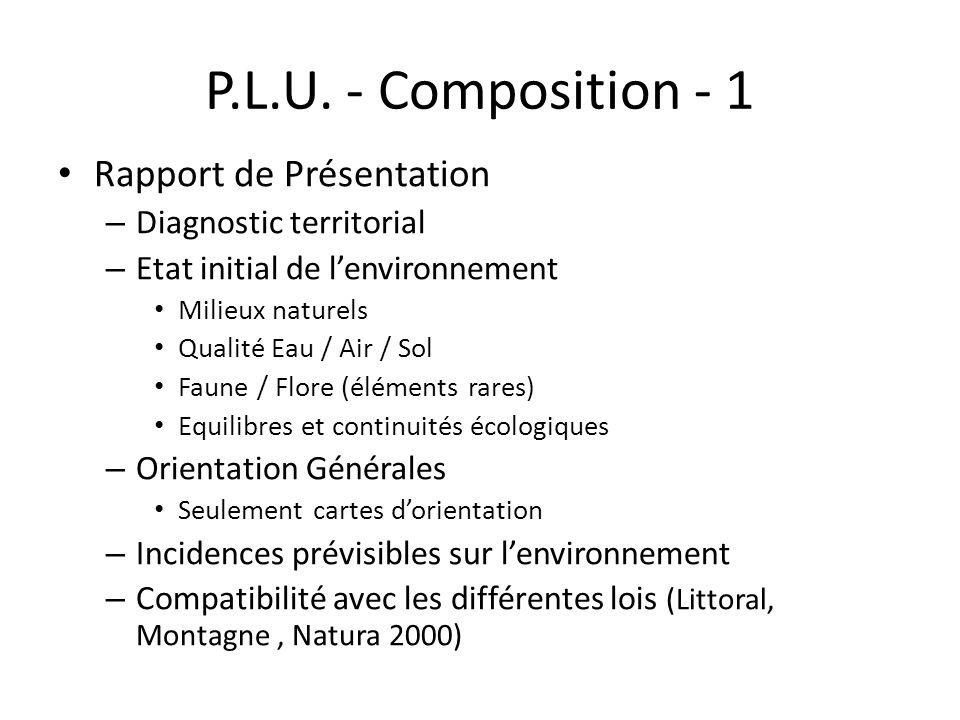 P.L.U. - Composition - 1 Rapport de Présentation