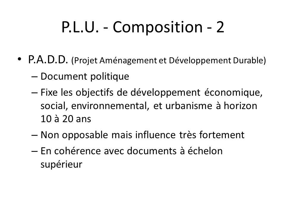 P.L.U. - Composition - 2 P.A.D.D. (Projet Aménagement et Développement Durable) Document politique.