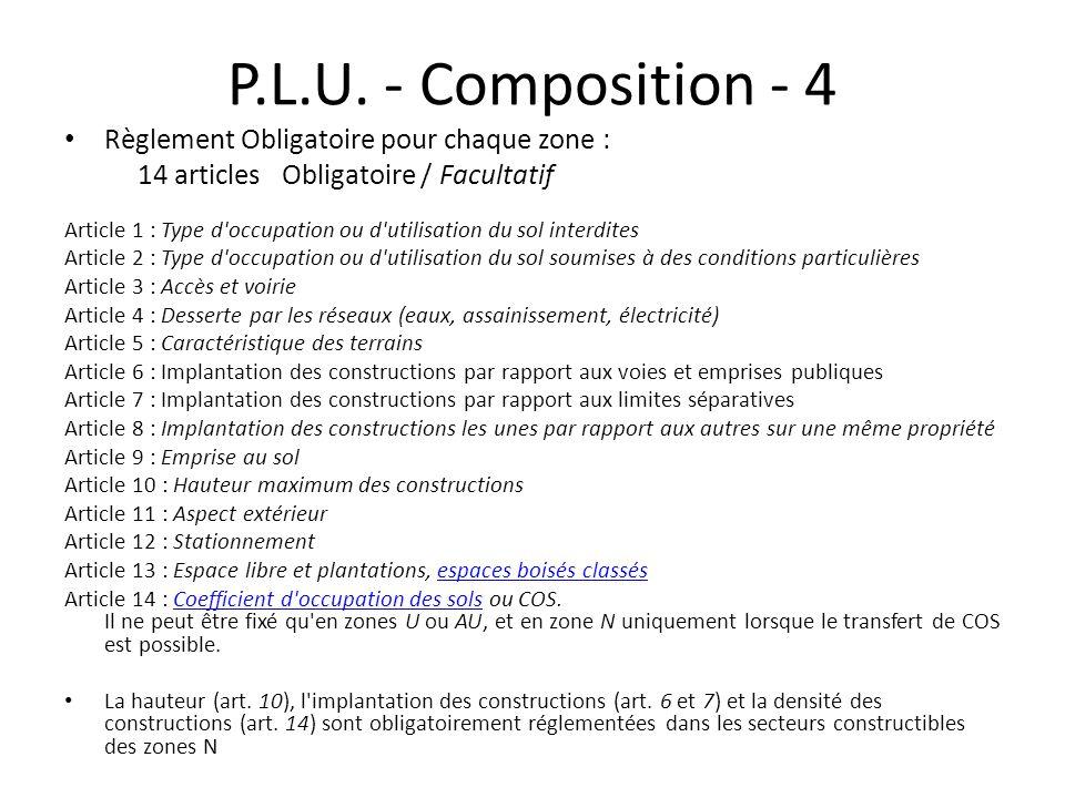 P.L.U. - Composition - 4 Règlement Obligatoire pour chaque zone :