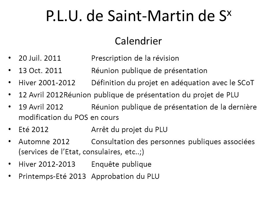 P.L.U. de Saint-Martin de Sx Calendrier