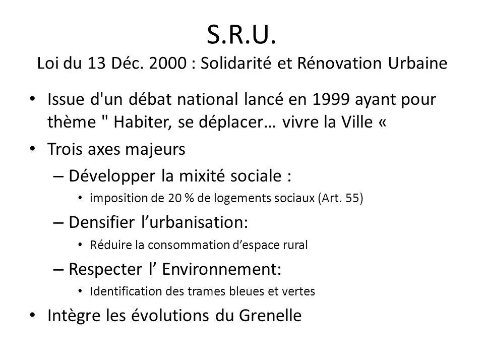 S.R.U. Loi du 13 Déc. 2000 : Solidarité et Rénovation Urbaine