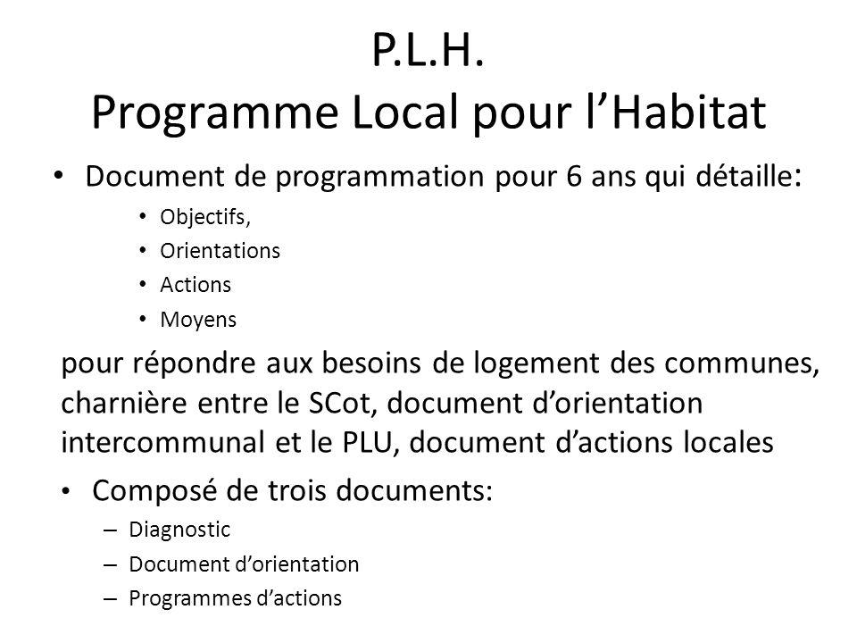 P.L.H. Programme Local pour l'Habitat