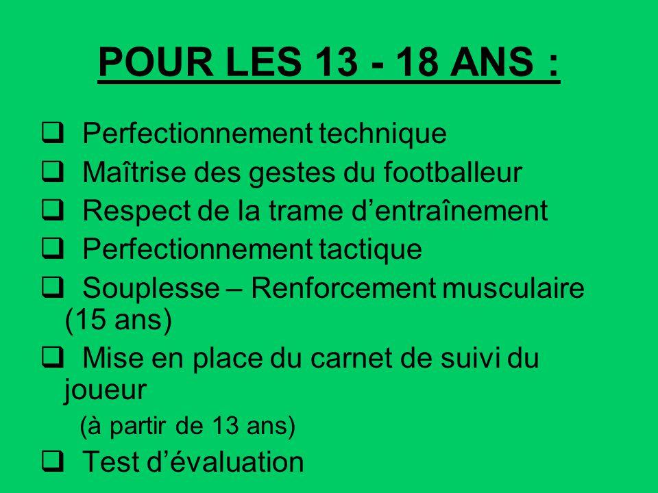 POUR LES 13 - 18 ANS : Perfectionnement technique