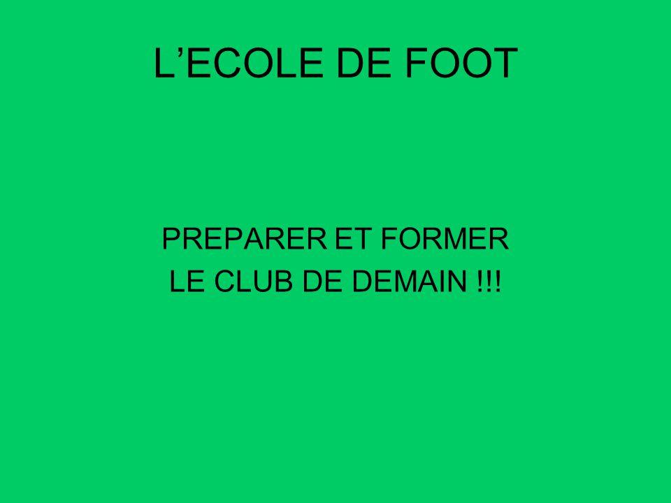 L'ECOLE DE FOOT PREPARER ET FORMER LE CLUB DE DEMAIN !!!