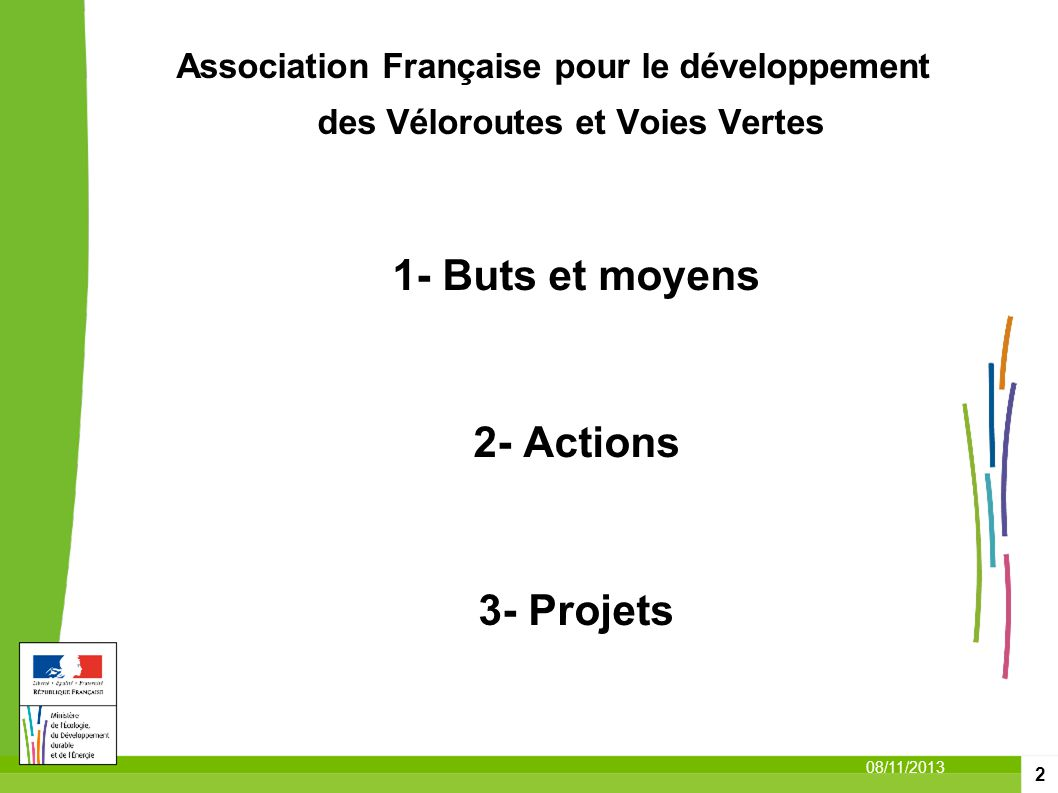 1- Buts et moyens 2- Actions 3- Projets