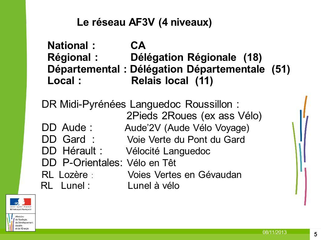 Le réseau AF3V (4 niveaux) National : CA Régional : Délégation Régionale (18) Départemental : Délégation Départementale (51) Local : Relais local (11) DR Midi-Pyrénées Languedoc Roussillon :