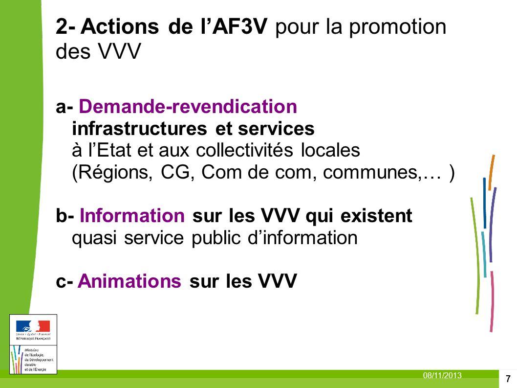 2- Actions de l'AF3V pour la promotion des VVV a- Demande-revendication