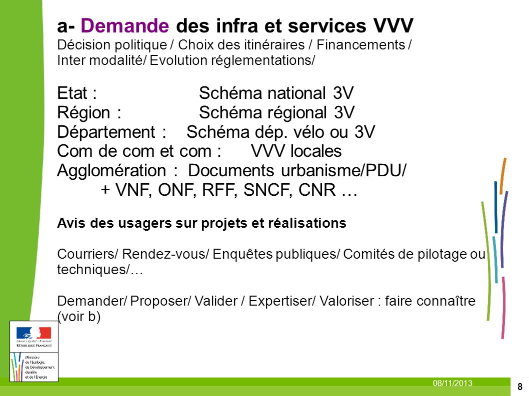 a- Demande des infra et services VVV Décision politique / Choix des itinéraires / Financements /
