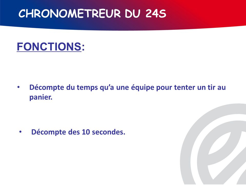 CHRONOMETREUR DU 24S FONCTIONS: