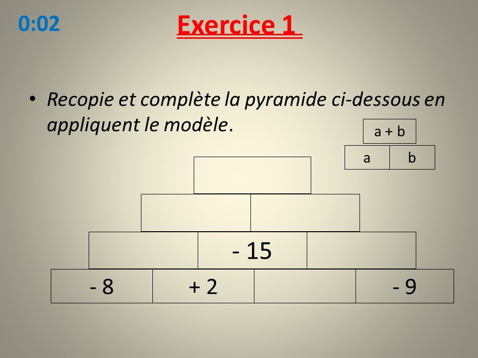 Exercice 1 0:02. Recopie et complète la pyramide ci-dessous en appliquent le modèle. a + b. a. b.