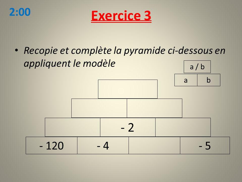 Exercice 3 2:00. Recopie et complète la pyramide ci-dessous en appliquent le modèle. a / b. a. b.