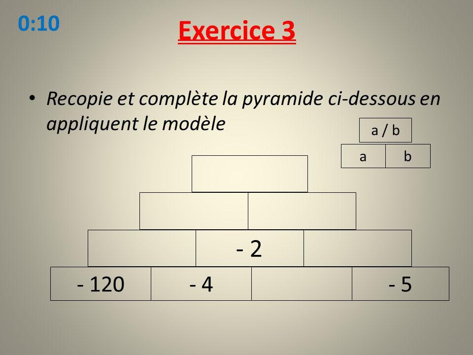 Exercice 3 0:10. Recopie et complète la pyramide ci-dessous en appliquent le modèle. a / b. a. b.